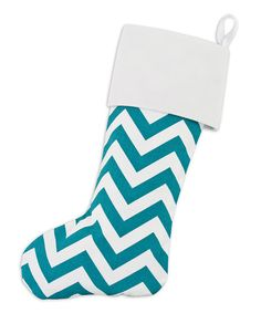 Look what I found on #zulily! Turquoise & White Chevron Stocking by Chooty & Co. #zulilyfinds
