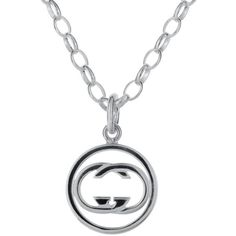 Gucci Pre-owned Gucci Icon Sterling Silver Pendant Necklace ($175) ❤ liked on Polyvore featuring jewelry, necklaces, sterling silver chain necklace, necklaces & pendants, long necklace, sterling silver pendant and pendants & necklaces