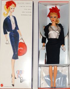 Commuter Set Vintage Barbie Doll Reproduction, Issued in this s reproduction of a blonde ponytail Barbie wearing the vintage ensemble Commuter Set. Play Barbie, Barbie I, Vintage Barbie Dolls, Barbie World, Barbie And Ken, Pin Up, Blonde Ponytail, Beautiful Barbie Dolls, Ken Doll