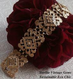 Vintage Crown Trifari Ornate Filigree Medallion Link Bracelet ~ #Vintage #VintageJewelry #Jewelry #Fashion #Style by StarliteVintageGems ~ SOLD