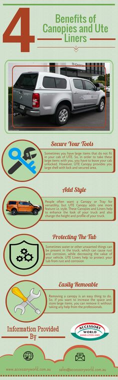 Canopies and lines help you to enhance the appearance of your vehicle and provide many benefits such as: Liner helps you to protect your vehicle's tub from the rust and corrosion, Canopies add a different style to your vehicles. It also provides security to your  vehicle. To know more about their benefits, go through this infographic.