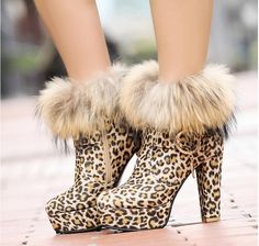 Stylish Sexy warm in winter-Ankle Boots  Ankle Boots (black,cheetah,print)