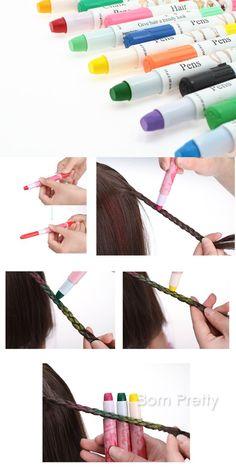 $5.42 1Pc Hair Chalk Pens Crayon Temporary Hair Dye Colour Kit Pastels Colours Salon Kit DIY - BornPrettyStore.com Hair Dye Colors, Pastel Colors, Pastels, Best Gel Nail Polish, Temporary Hair Color, Chalk Pens, Hair Chalk, Color Kit, Nail Stamping