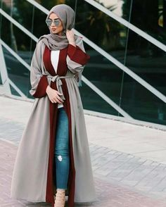Luxe poly fabric abaya in gray with a maroon trim. Wear it casual over jeans and… Luxe poly fabric abaya in gray with a maroon trim. Wear it casual over jeans and a blouse or formal … , Islamic Fashion, Muslim Fashion, Modest Fashion, Fashion Outfits, Eid Outfits, Ootd Fashion, Fashion 2017, Fashion Bags, Fashion Ideas