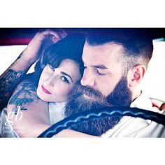Gina Barbara Photography with MayheMeghan & Steve Benson. Couples portraits alternative pinup retro big beard bearded men models tattoos.