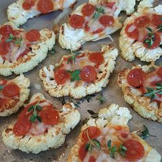 Roasted Cauliflower Pizza Bites http://cleanfoodcrush.com/cauliflower-pizza-bites/