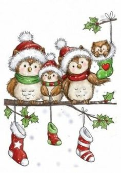 NEW Wild Rose Studio 'Owl Family' Clear Stamp. This cute little stamp is a hoot! Its perfect for making adorable Christmas cards. Christmas Rock, Christmas Drawing, Christmas Clipart, Christmas Paintings, Christmas Animals, Christmas Pictures, Family Christmas, Vintage Christmas, Christmas Crafts