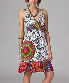 This White & Red Geometric V-Neck Sleeveless Dress is perfect! #zulilyfinds