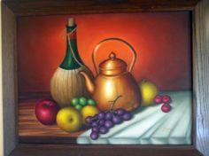 Tetera con frutas y botella. Mi primer óleo...