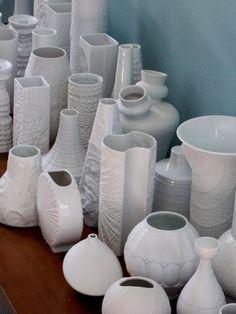 Mid Century White German Op Art vases from MidCenturyFLA  http://www.etsy.com/shop/MidCenturyFLA?section_id=12809432&ref=shopsection_leftnav_2