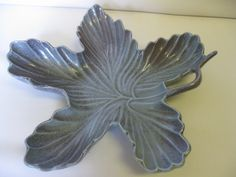 Candy Dish Bowl Red Wing Pottery Two Toned Blue Leaf Shaped Made in USA by hazeleyesartglassetc on Etsy $44.99