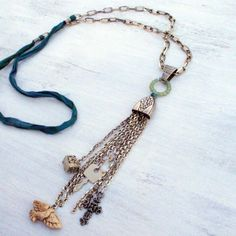 """""""Belief"""" Ceramic, Silver, Glass, Silk and Found Object Necklace - Jewelry creation by Molly Alexander"""