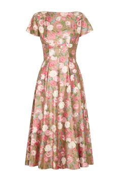 1950s Polished Cotton Floral Dress | From a collection of rare vintage day dresses at https://www.1stdibs.com/fashion/clothing/day-dresses/