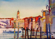 View of the Rialto Bridge, Venice Italian Paintings, Rialto Bridge, Venice, Taj Mahal, Watercolor, Design, Art, Watercolor Painting, Scenery