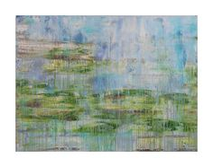 ORIGINAL Abstract Painting on Canvas, Grazing Land by Lisa Carney, Large Contemporary Landscape, Blue, Green, Organic Abstract Art by AsilArt on Etsy