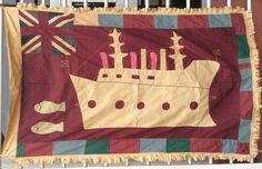 Fante ASAFO Flag, (Ghana, Akan, African Art, Asante) BATTLESHIP motif