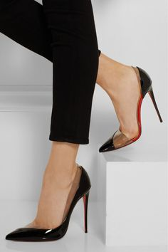 Christian Louboutin | Miss Rigidaine 120 patent-leather and PVC pumps | NET-A-PORTER.COM