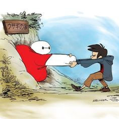 |19 Pieces Of Fan Art That Prove Baymax Is Your New Fave Character| YES! I love this so much! Big hero 6 Winnie the Pooh version!