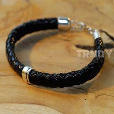 heren armband ovaal gevlochten band met zilveren detail