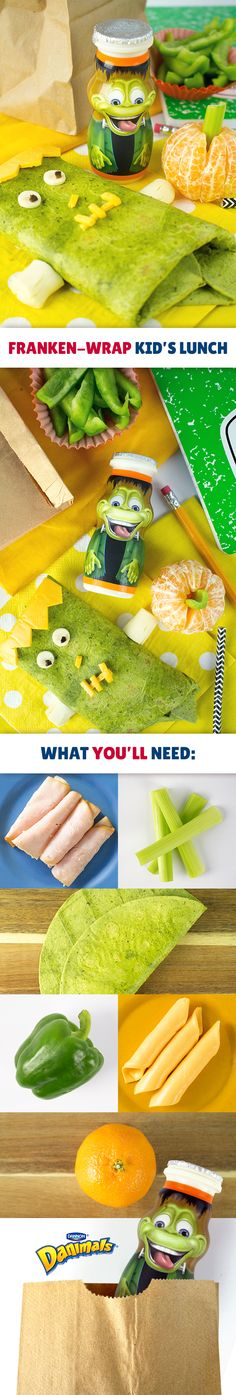 Scare up a lunchtime treat this Halloween or anytime just for fun. Roll turkey and cheese into a spinach wrap. The kids will be in stitches with this monster's fun hair, nose, eyes and mouth details made with cheese and olives. Don't forget the pumpkins! Simply peel clementine oranges and place celery pieces into the middle as stems. Complete this frighteningly fun kid's lunch with green pepper slices and a limited edition Halloween Orange Scream Danimals®.
