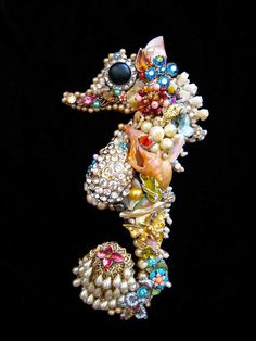 Art Creations by CJ are one-of-a-kind vintage jewelry wall art & fashion creations ~ No two are ever the same ~ This beautiful seahorse is hand
