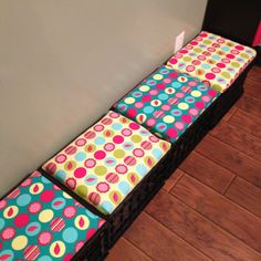 Crate seats for classroom. Dots on turquoise to match my classroom!