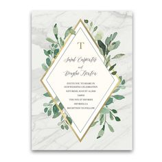 Gorgeous greenery eucalyptus wedding invitation suite with a gold geometric diamond accent Country Wedding Invitations, Beautiful Wedding Invitations, Elegant Wedding Invitations, Wedding Invitation Templates, Invitation Suite, Birthday Invitations, Geometric Wedding, Wedding Cards, Cricut Wedding