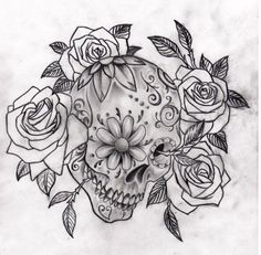 Cool sugar skull and roses picture....tattoo inspiration