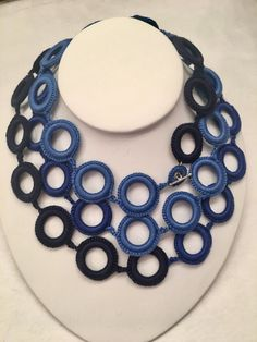 Blue crochet necklace Handmade. Crochet jewelry. Fiber