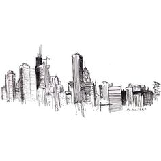 Mitch Meseke - Chicago Skyline Sketch ❤ liked on Polyvore featuring fillers, backgrounds, drawings, doodles, sketches, text, effects, quotes, embellishments and details