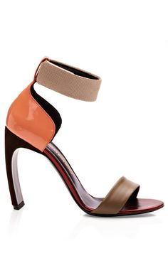 Khaki Orange Bow Heel Sandal by Nicholas Kirkwood for Preorder on Moda Operandi