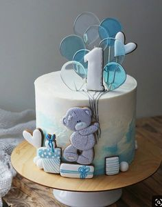 Cakes for kids with beautiful isomalt decor 😍 Credit . Do you like this kind of decor - isomalt lollipops 😋😁 Yes or No? Baby Boy Birthday Cake, Baby Birthday Cakes, Baby Boy Cakes, Baby Shower Cakes, Buttercream Birthday Cake, Teddy Bear Cakes, Love Cake, Cute Cakes, Cupcake Cookies