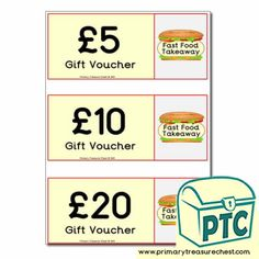 Fast Food Takeaway Role Play Resources - Primary Treasure Chest Teaching Activities, Teaching Ideas, Ourselves Topic, Gift Vouchers, Candy Shop, Role Play, Treasure Chest, Food Gifts, Sweets