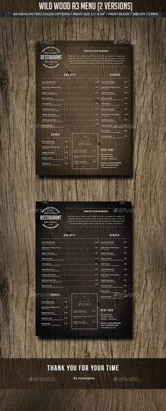 Wild Wood A3 Menu (2 Versions)