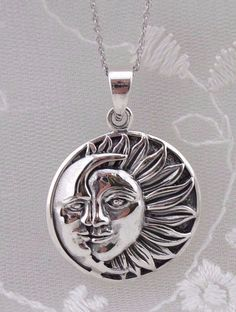 925 Sterling Silver Sun and Moon Pendant Necklace Celestial Jewelry NEW
