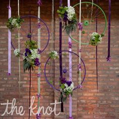 Bicycle wheels as wedding decorations.