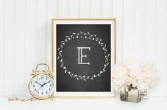 Monogram Art, Nursery, Home, Letter, Initial, Print, Wall Decor, wreath, simple font, custom digital Printable Gray Frames