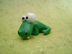 Green Silly Alligator Crocodile Polymer Clay Figurine by MyWillies, $15.00