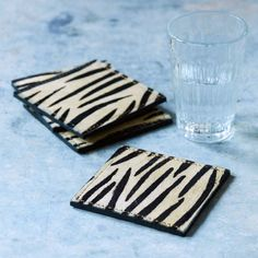 Set of Four Zebra Print Leather Coasters Leather Coasters, Green Fashion, Zebra Print, Graham, Touch, Animal, Lounge, Dining, Products