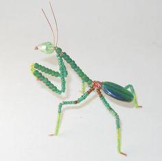 Praying Mantis Dark Green Beaded on Copper wire by MoonfairyGems