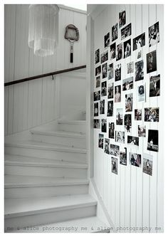 White-washed Stairs & Family Wall of Photos in B & W Family Wall, Home And Family, Easy Frame, Hanging Picture Frames, Family Pictures, White Walls, Decoration, Photo Wall, Picture Wall