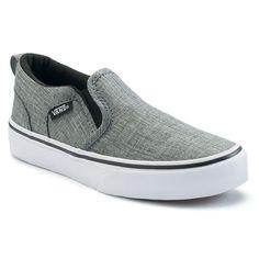 Vans Asher Boys' Checker Slip On Skate Shoes, Boy's, Size: medium (