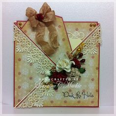 Pocket Kriss Cross card I made using Christmas design papers and flowers from WOC.