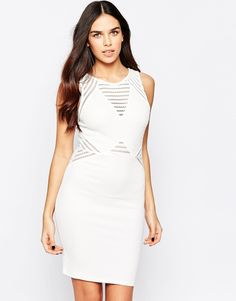 Lipsy Textured Shift Dress with V Neck