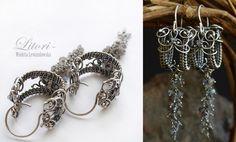 Handmade jewelry,earrings. Technique wire-wrapping. Oxidized silver+garnet, amethyst,quartz,tourmaline.