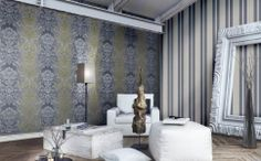 Amenajari tapet pentru living Mirtilla Cristiana Masi Curtains, Flooring, Shower, Interior Design, Floral, Modern, Living, Home Decor, Christians