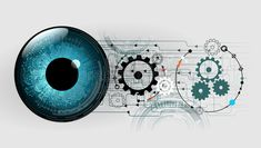 Abstract cogs eye future circuit technology security system background, vector illustration. royalty free stock photography Circuit, Technology Background, Cogs, Book Pages, Cyber, Illustration, Engineering, Coding, Concept