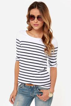 Obey Bennett Recycled Navy Blue and Ivory Striped Top at LuLus.com!