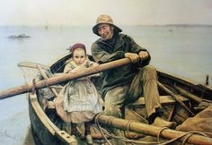 the helping hand picture painting emile renouf | The Helping Hand by Emile Renouf – offset lithograph fine art print