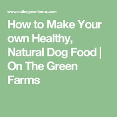 How to Make Your own Healthy, Natural Dog Food | On The Green Farms